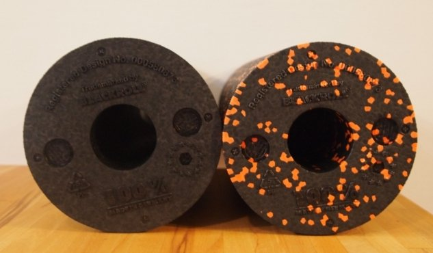 Blackroll Standard und Blackroll Orange Faszienrolle Einstanzungen