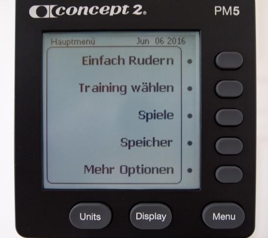 Concept 2 Rudergerät Computer menü